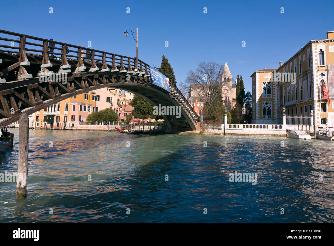 Ponte dell'Academia bridge over Grand Canal, connecting Dorsoduro and San Marco districts - Venice, Venezia, Italy, Stock Photo