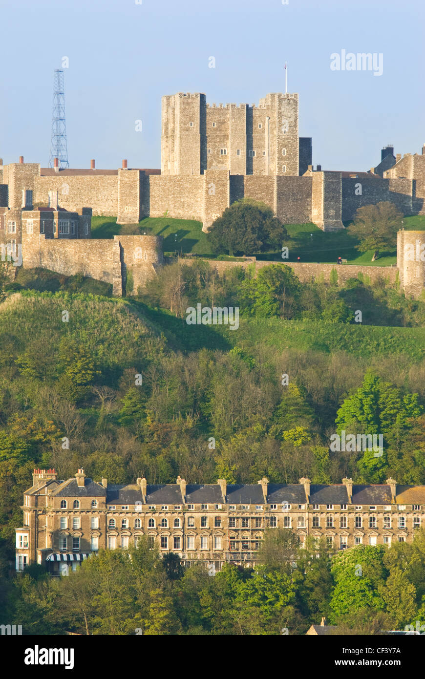 A view of Dover Castle at sunset Stock Photo