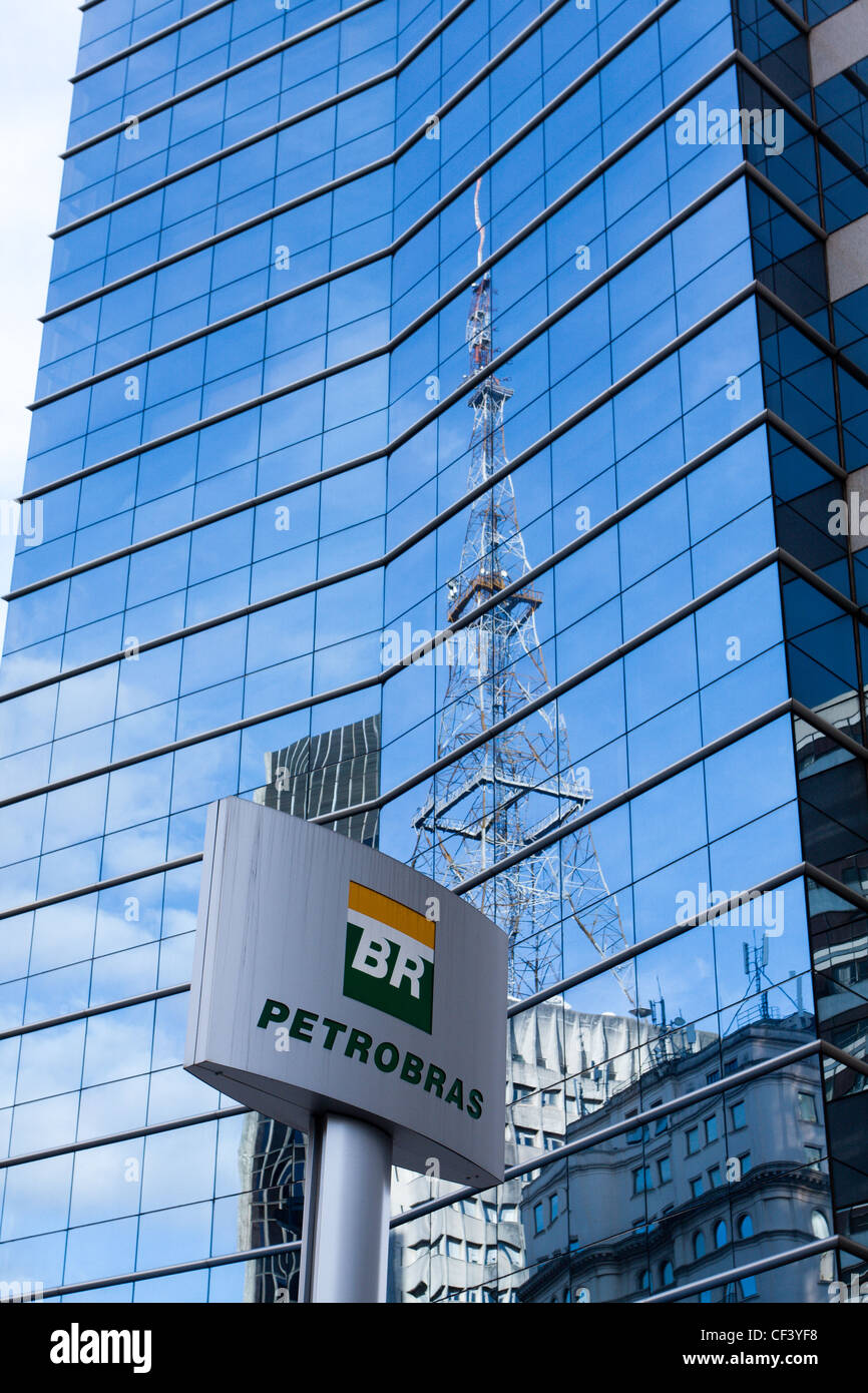 The corporate logo of the oil company Petroleo Brasileiro SA (Petrobras) is pictured at its corporate office in Stock Photo