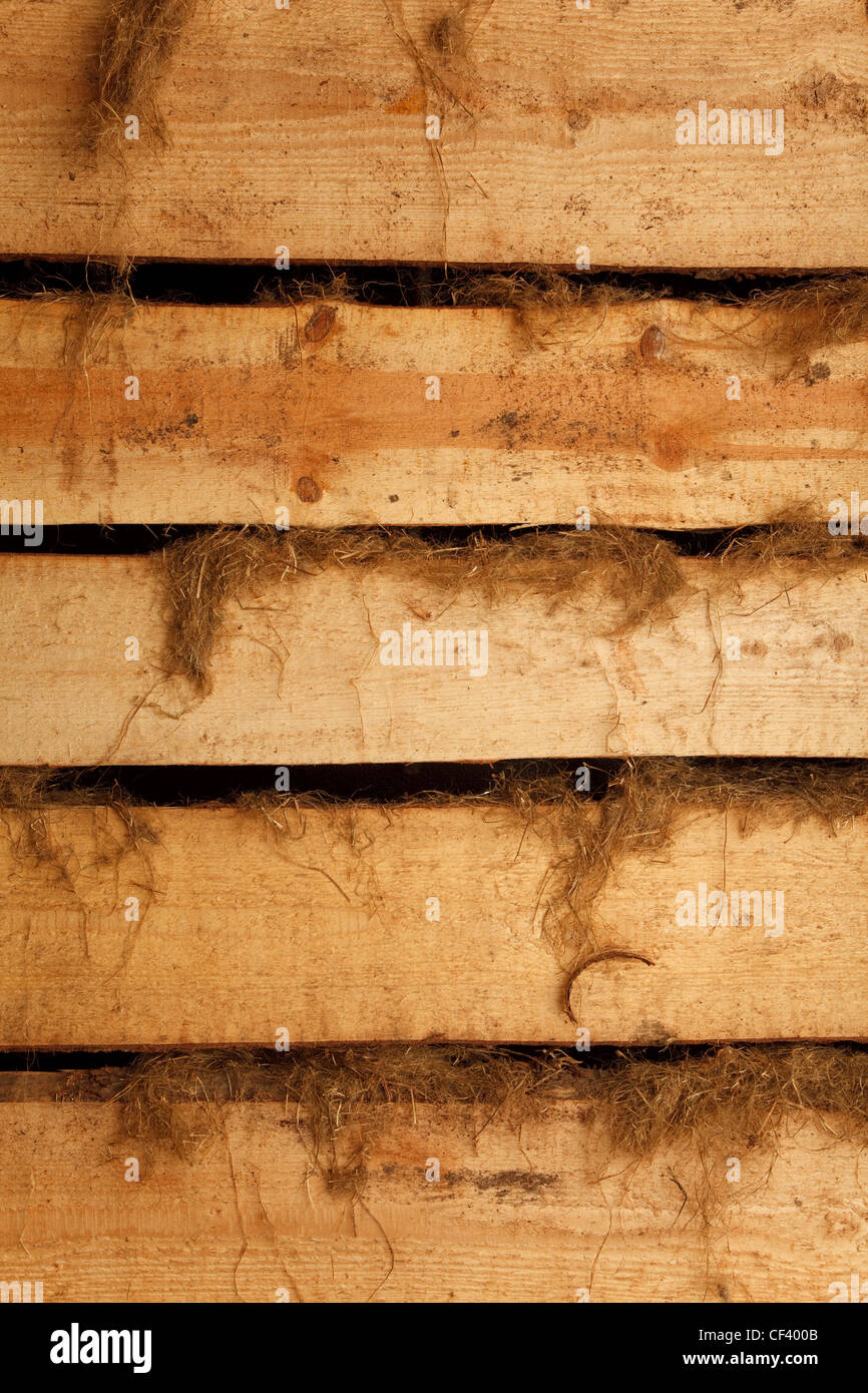 Texture high resolution of brown color of horizontal boards with rags. Vertical format. - Stock Image
