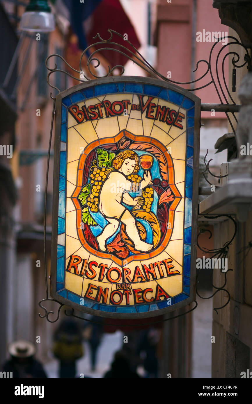 Bistrot Venise restaurant shop sign in San Marco district - Venice, Venezia, Italy, Europe - Stock Image