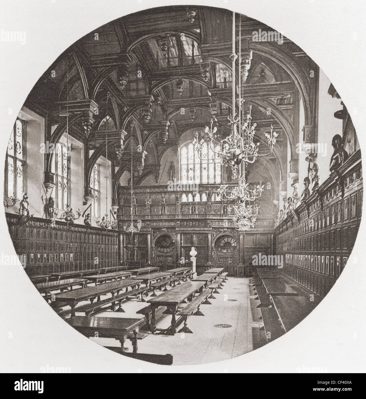 Middle Temple Hall, one of the four Inns of Court, London, England in the late 19th century. - Stock Image