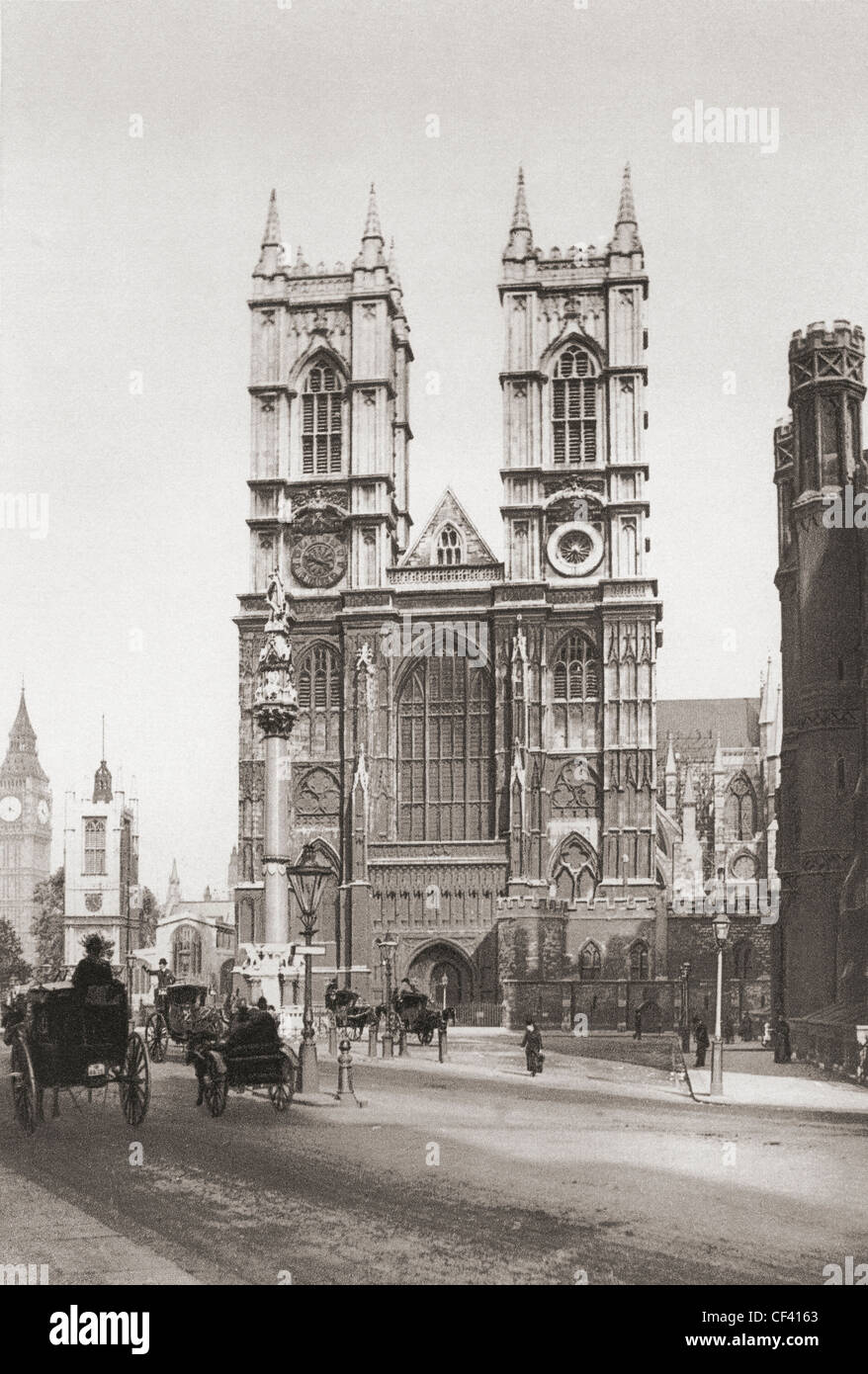 The Collegiate Church of St Peter at Westminster, popularly known as Westminster Abbey, late 19th century - Stock Image