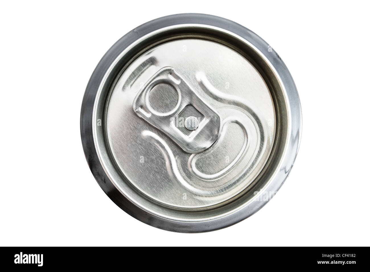 Top view of an unopened drinks can over white - Stock Image