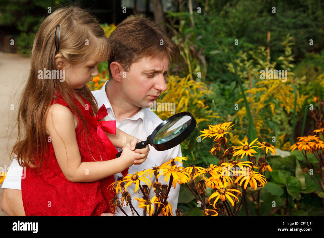 Little girl in red dress with father, considers plants through magnifying glass. - Stock Image