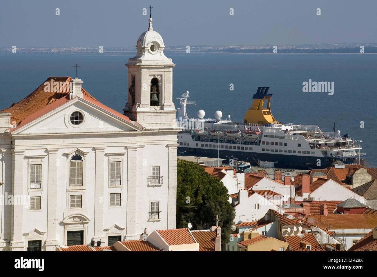 Portugal Lisbon, Santa Luzia church & river Tagus Stock Photo