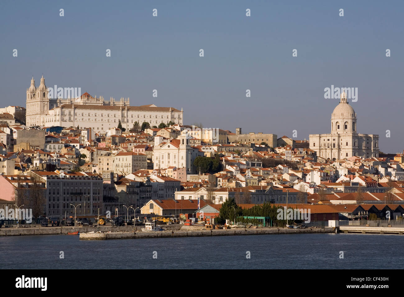 Portugal Lisbon, city skyline, with Sao Vicente monastery, Santa Luzia church & National Pantheon Stock Photo
