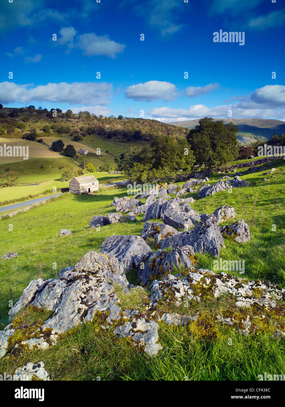 View over the rugged slopes of Wharfedale in the Yorkshire Dales. - Stock Image
