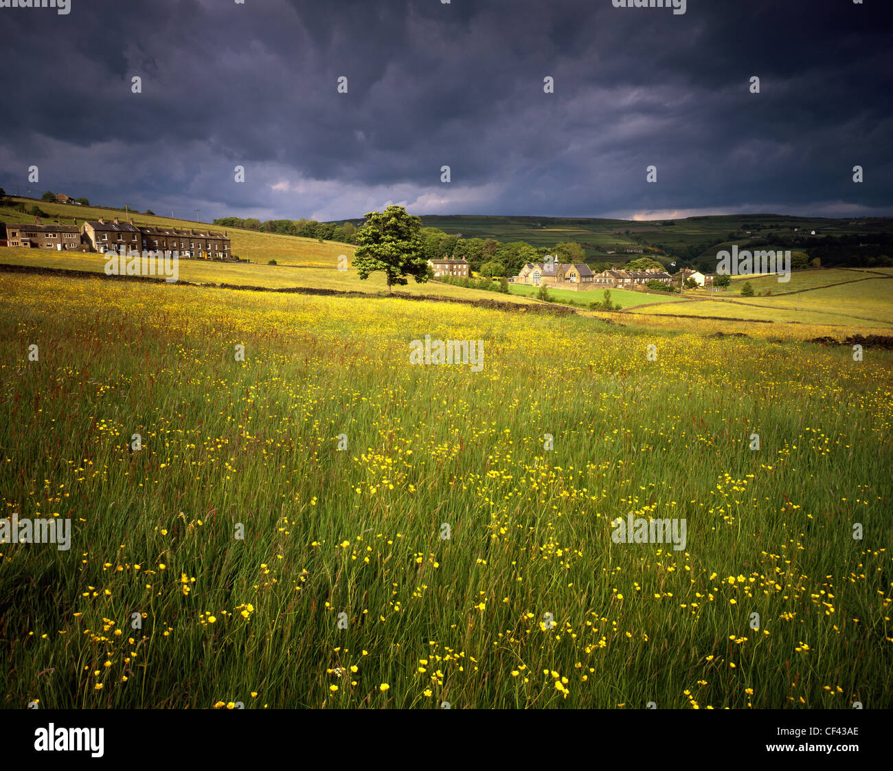 View across a hay meadow towards a village in the countryside surrounding Halifax. - Stock Image