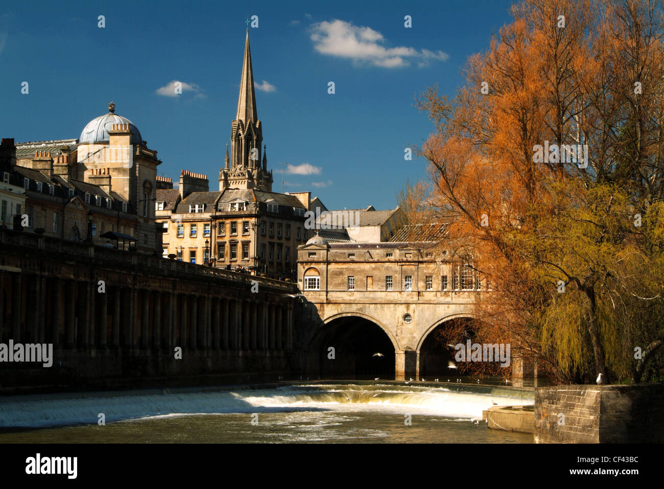 The River Avon in front of Pulteney Bridge and Bath city beyond. - Stock Image