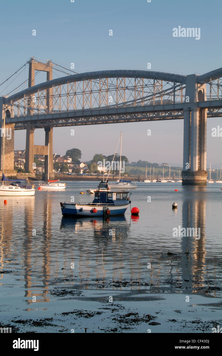 Fishing trawler on the River Tamar at dawn with the Brunel Bridge behind. Stock Photo