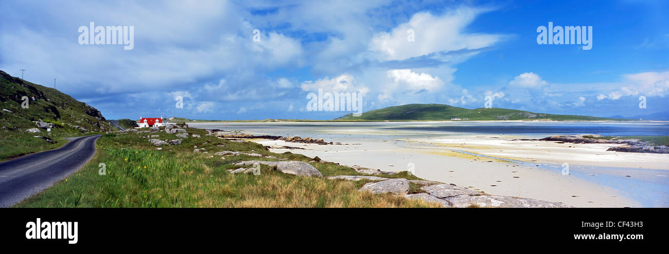 View across the beach towards Barra airport in the Outer Hebrides. - Stock Image