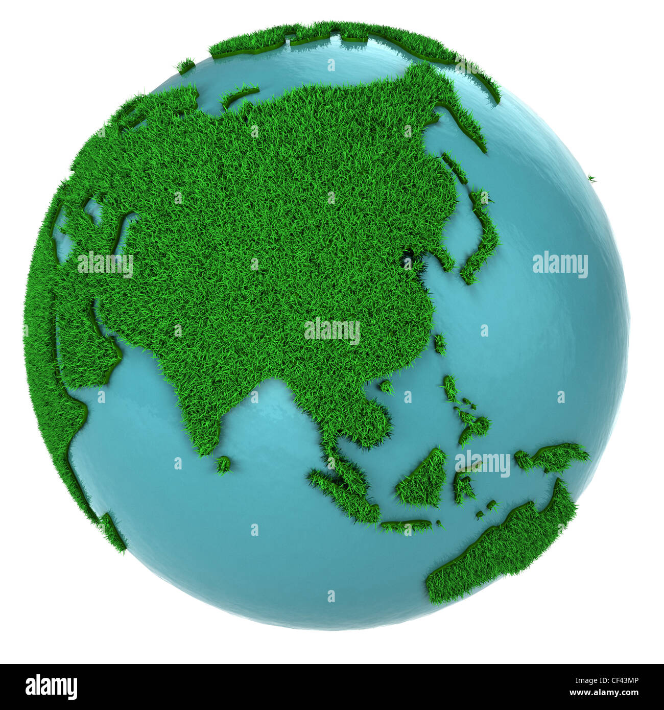 Globe of grass and water, Asia part, isolated on white background - Stock Image