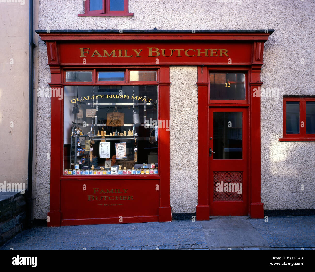 A traditional Family Butcher shop in the small seaside village of Staithes. - Stock Image