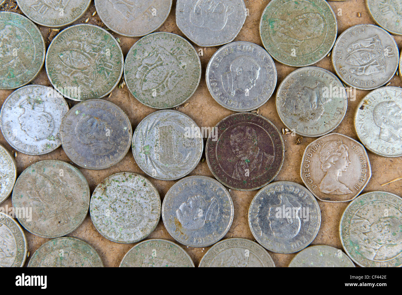 Collection of old coins from Zanzibar Tanzania - Stock Image