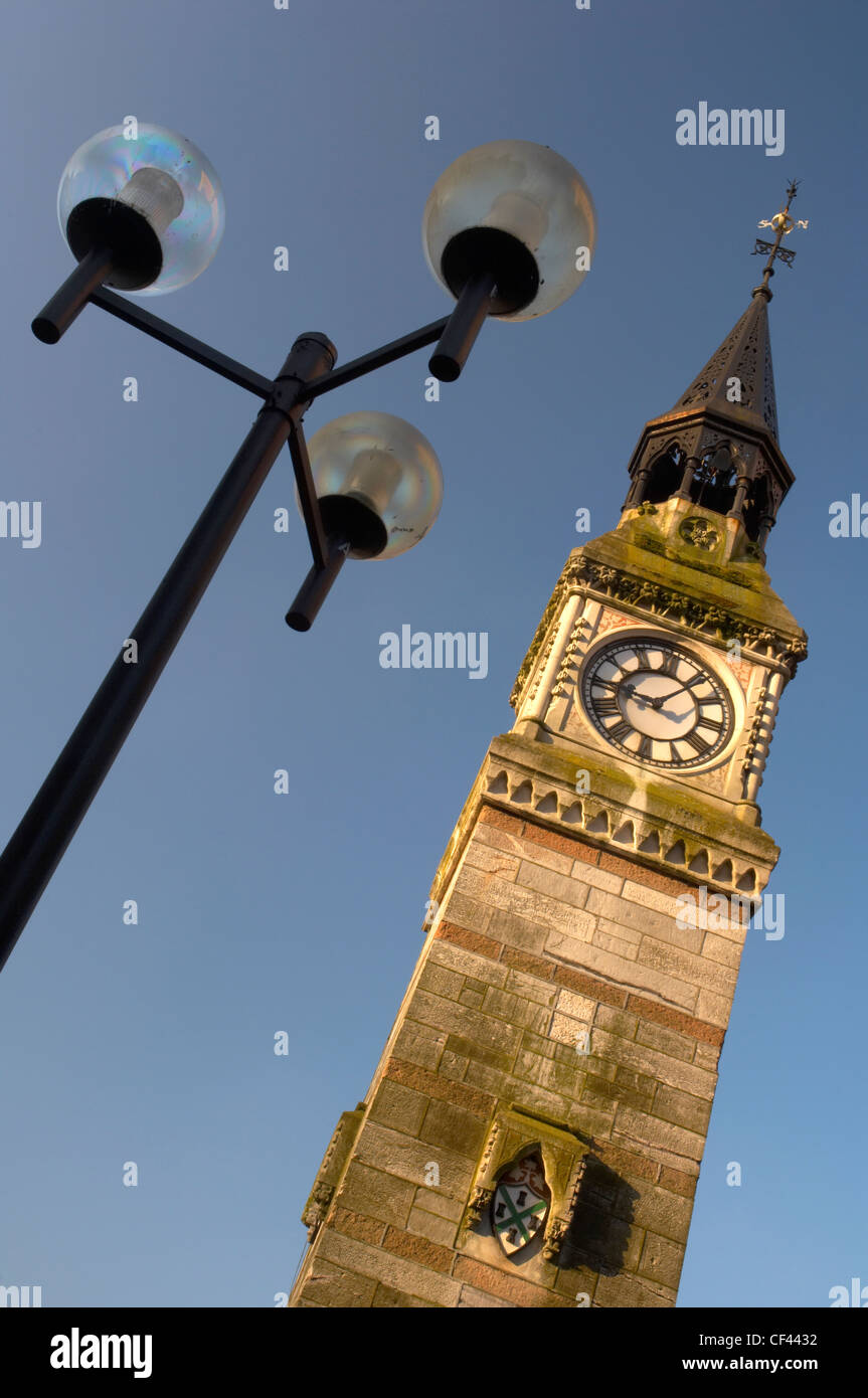 Derry's clock tower in Plymouth city centre. - Stock Image