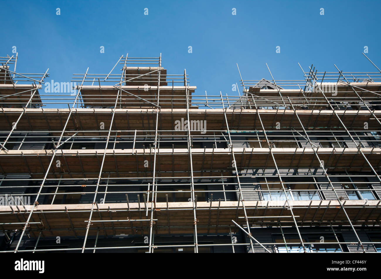 Scaffolding On A Building Scaffold Poles - Stock Image
