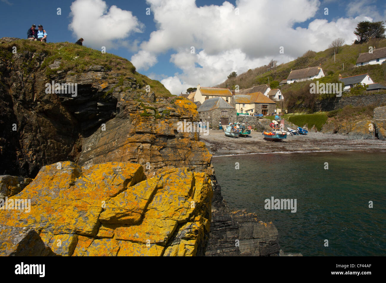 Fishing trawlers on the beach at the traditional Cornish fishing harbour of Cadgwith Cove. - Stock Image