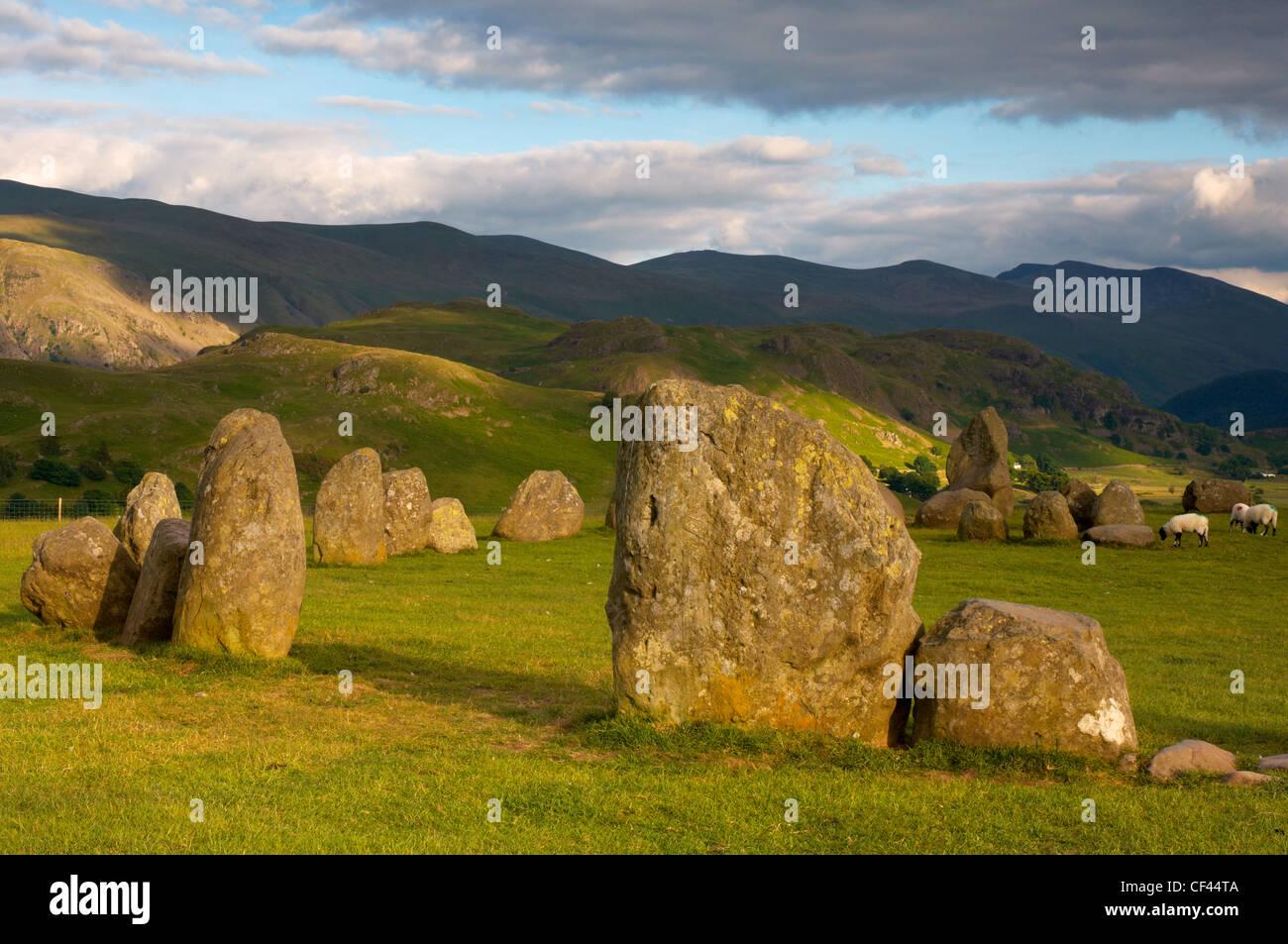 Evening light over Castlerigg stone circle in Cumbria. - Stock Image