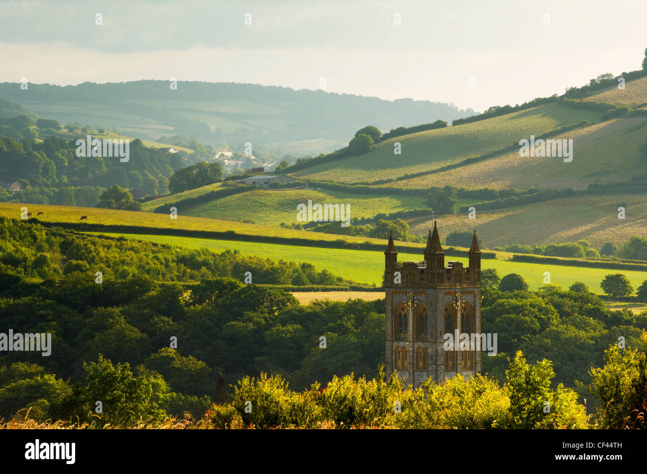 The tower of Buckfast Abbey, home to a Roman Catholic community of Benedictine monks, in a green Devonshire valley - Stock Image