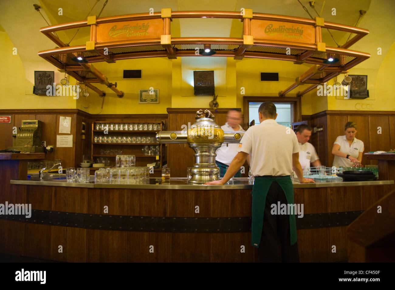 Bar counter and beer taps at U Medvidku restaurant microbrewery Prague Czech Republic Europe - Stock Image