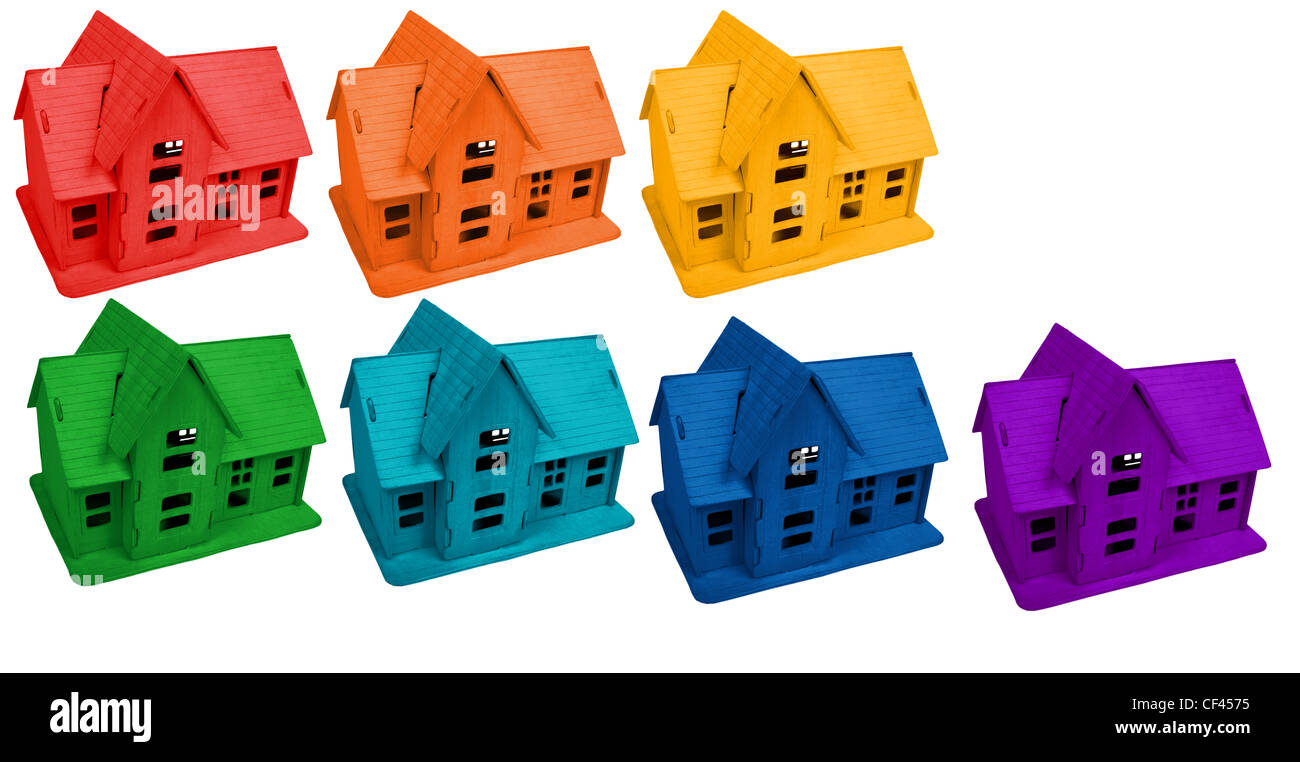 Model of houses in colors of rainbow, collage - Stock Image