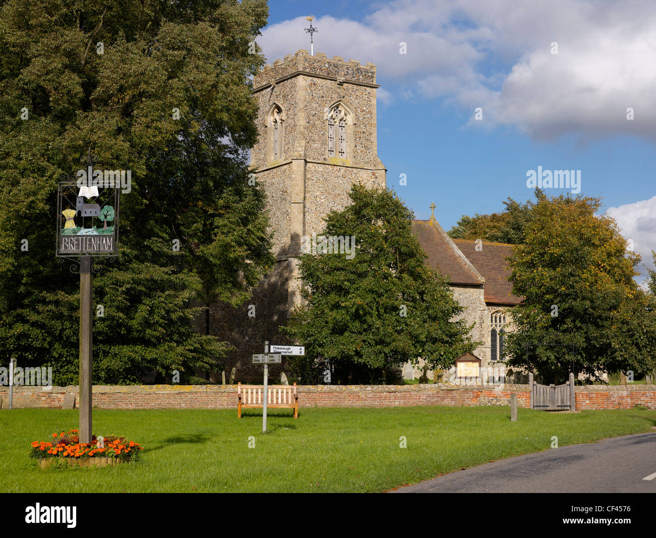 The village green and sign. Brettenham is mentioned in the Domesday Book of 1086 where there are four entries relating - Stock Image