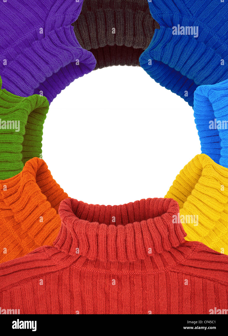 Round Frame Of Multi Color Rainbow Sweaters Collage Stock Photo
