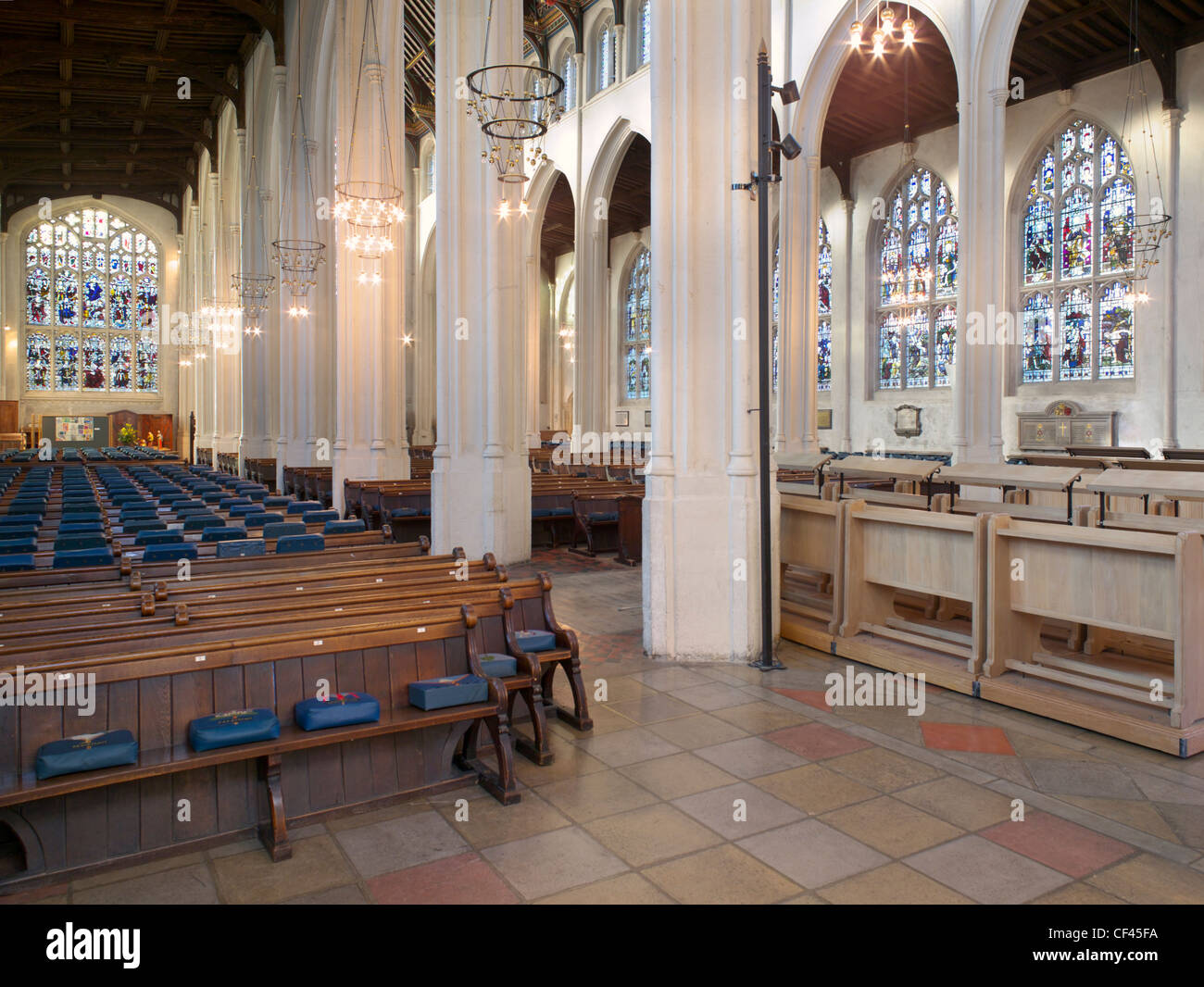 An interior view of St Edmundsbury Cathedral. The death of Edmund, King of the East Angles, at the hands of the - Stock Image