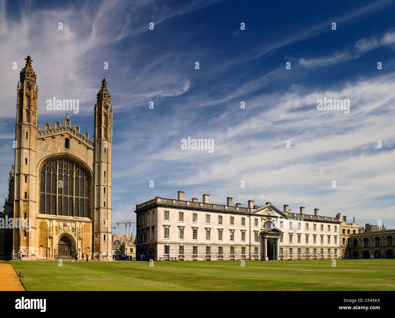 A view toward King's College Chapel.  King's College Chapel is arguably the most magnificent example of late medieval Stock Photo