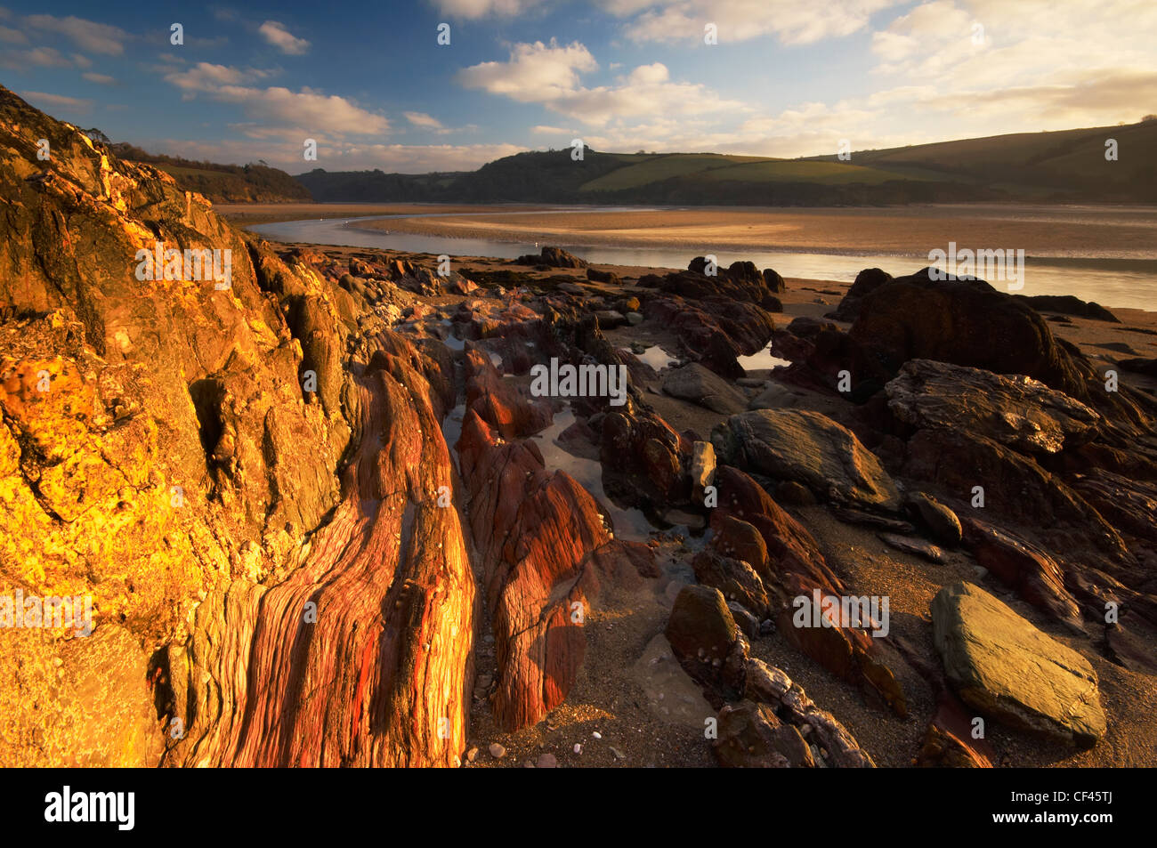 Dawn over Mothecombe beach at the estuary of the River Erme. - Stock Image