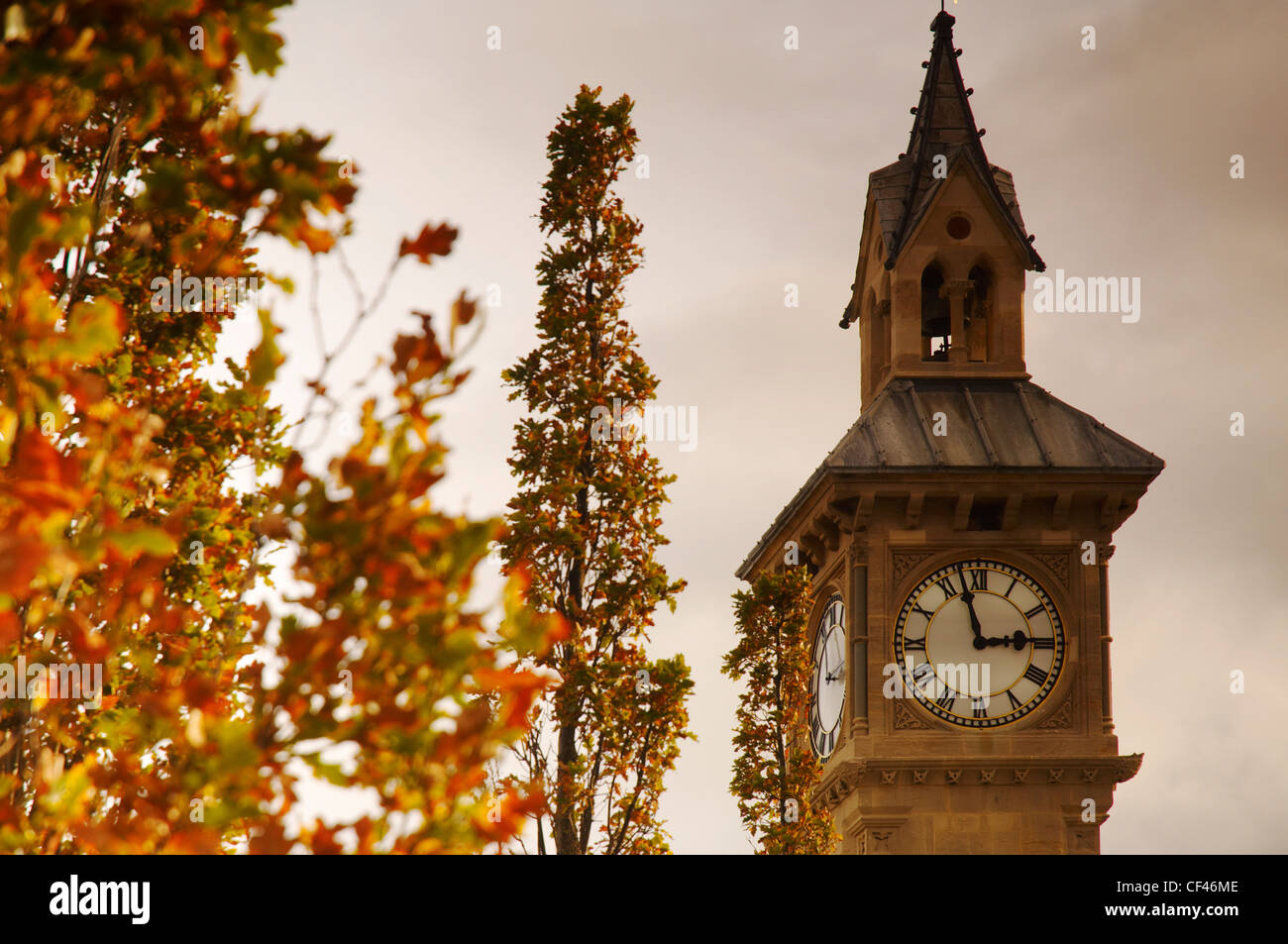 The town centre clock tower in Barnstaple. - Stock Image