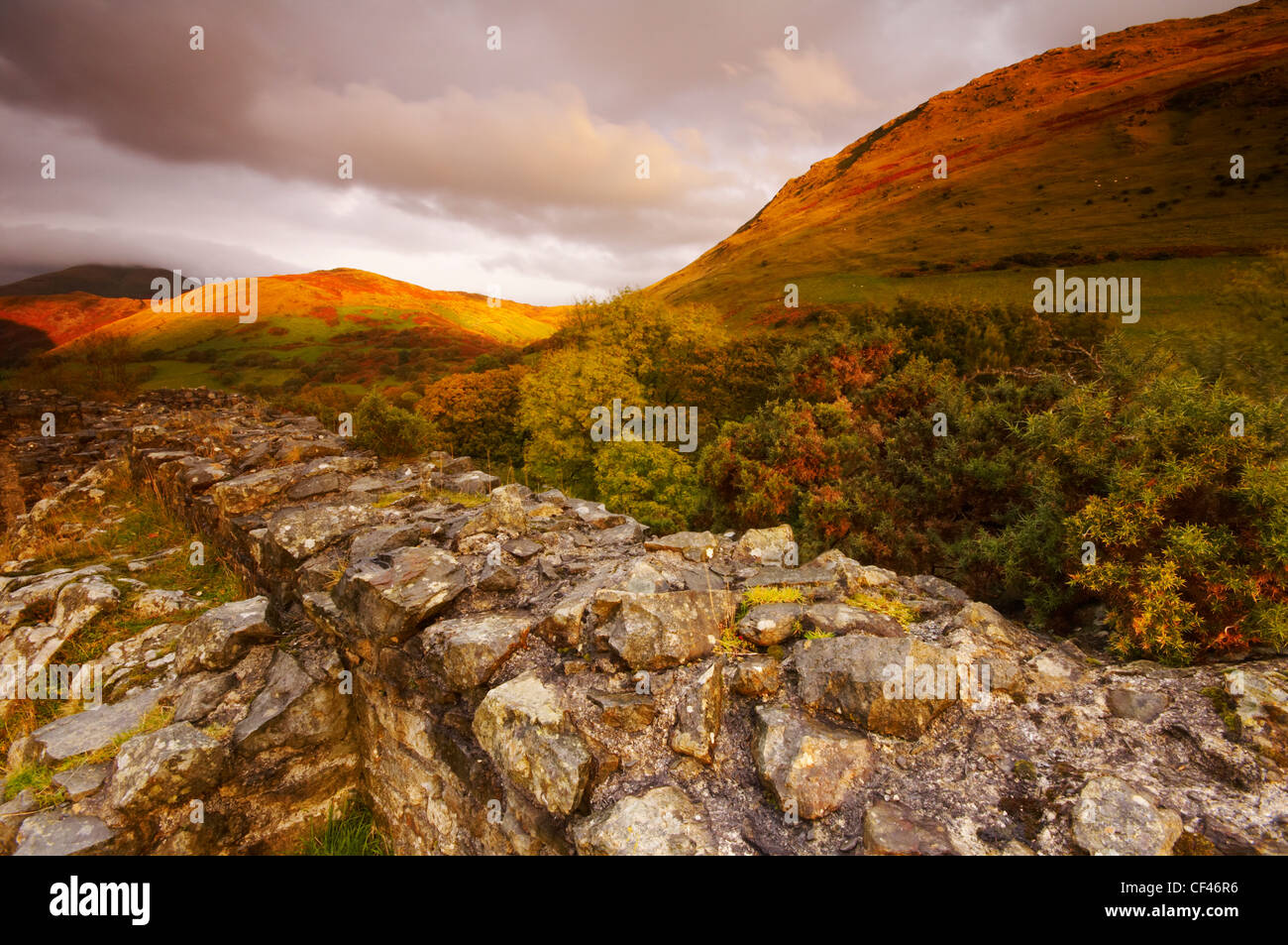 The hilltop ruin of Castell Y Bere in late Autumn light in Snowdonia. Stock Photo