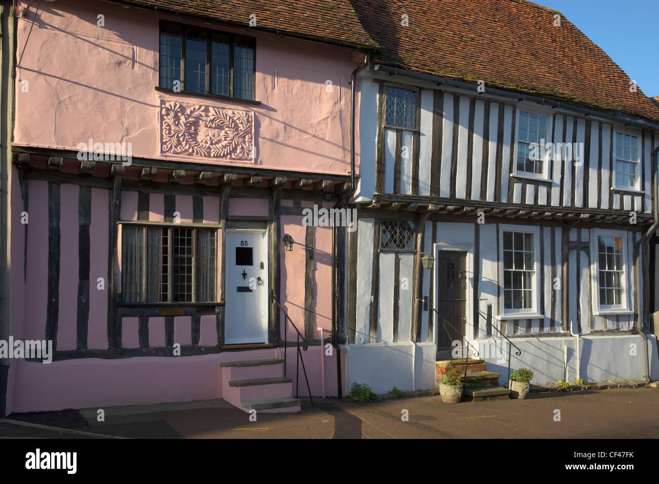 Traditional timber framed houses in Lavenham. - Stock Image