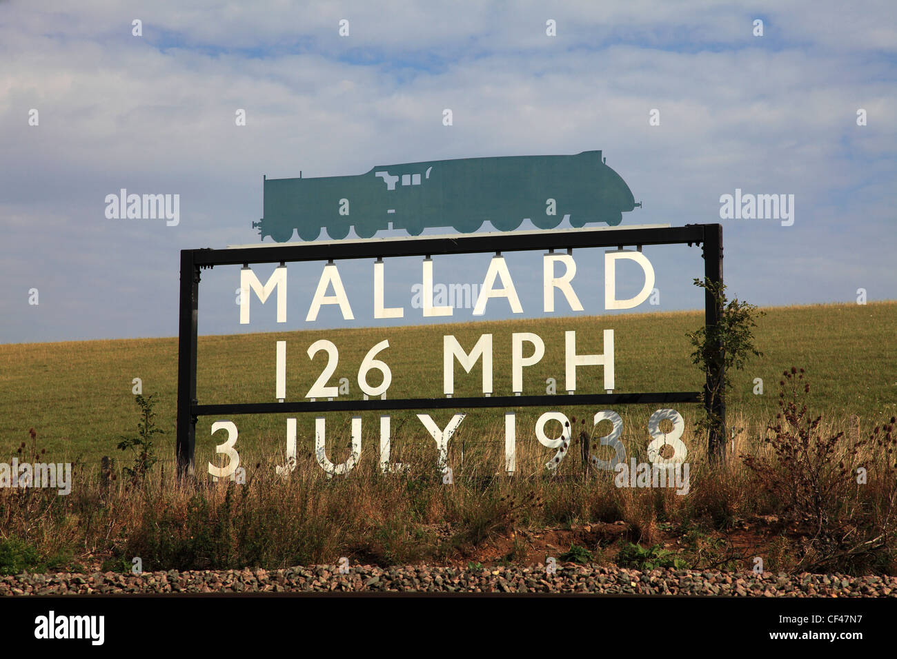 The Mallard Train Speed Record sign, East Coast Main Line Railway, Lincolnshire, England, UK - Stock Image