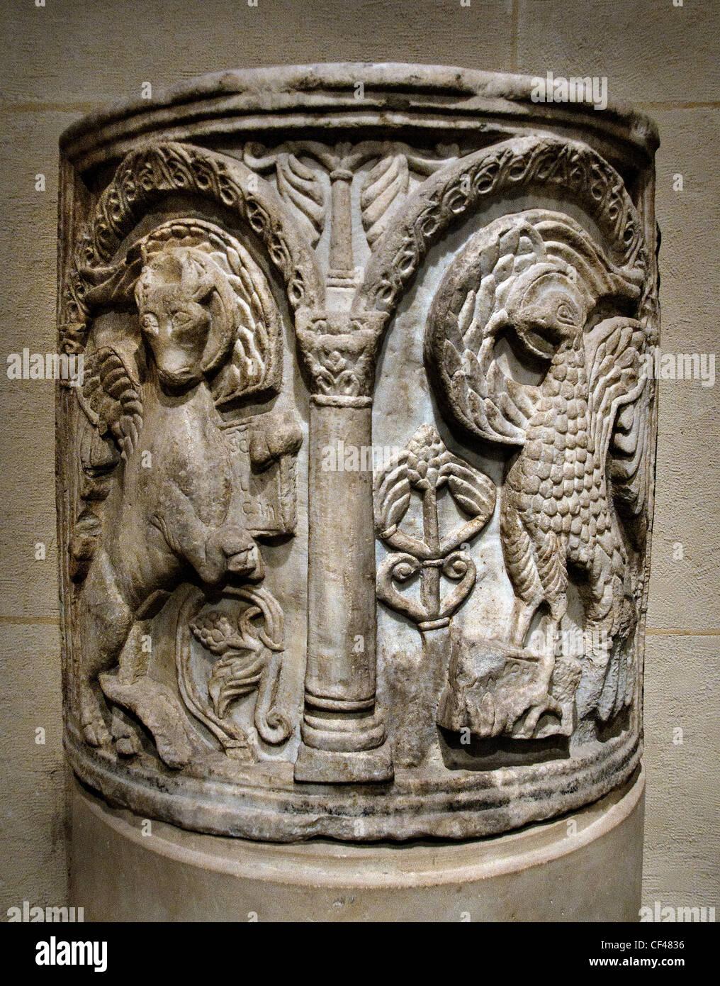 Parapet of Ambon adorns symbols evangelists Luke - John  2 Cent Pomposa Abbey   Benedictine monastery Codigoro Italy - Stock Image