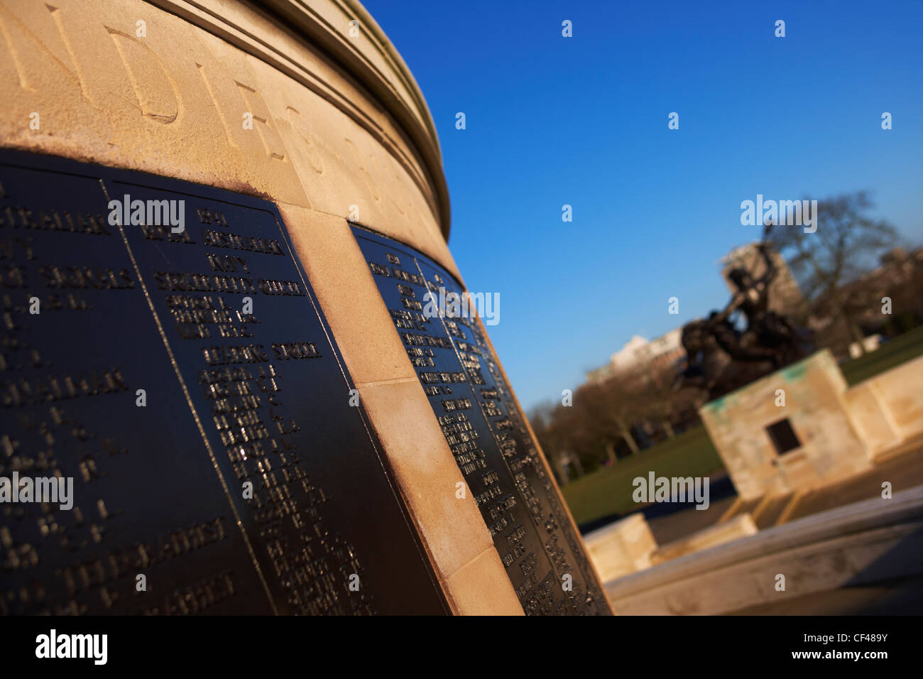 Copper plaques listing the war dead on the cenotaph at Plymouth Hoe. - Stock Image