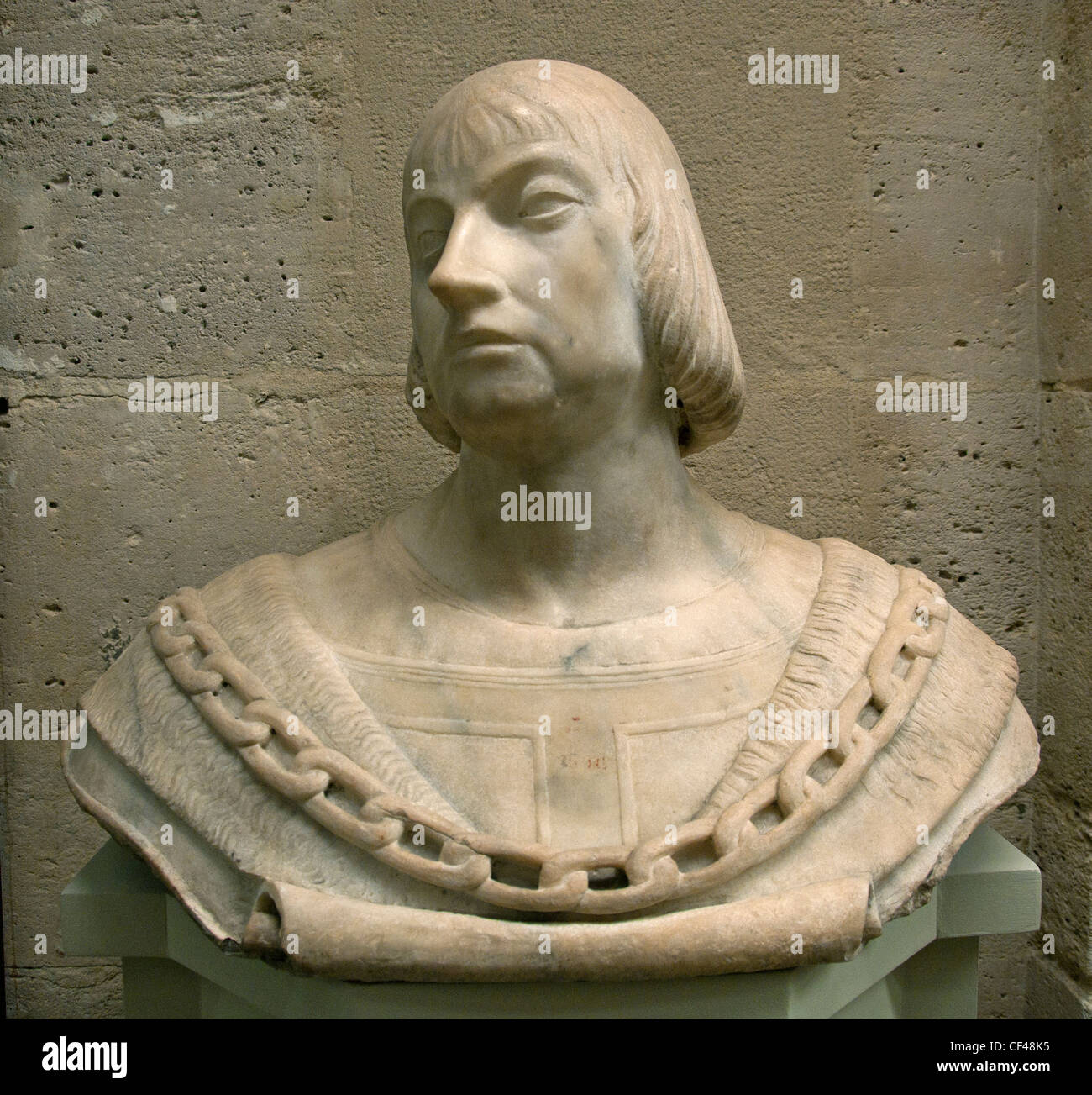 Bust of man wearing a string Century 15 Northern Italy Italian - Stock Image