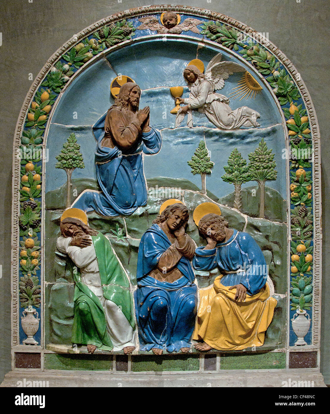 Le Christ au mont des Oliviers Christ on the Mount of Olives Lucca della Robbia Italian Italy 1475-1548 FLORENCE - Stock Image