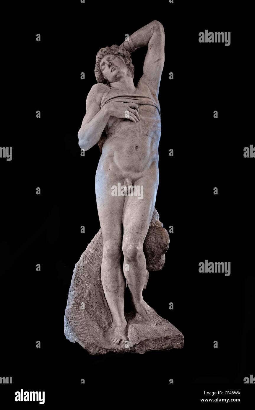 Captive dying slave 1513 - 15 tomb of Pope Julius II  1443 1513 by MICHELANGELO Buonarroti 1475-1564 Italian Sculptor - Stock Image