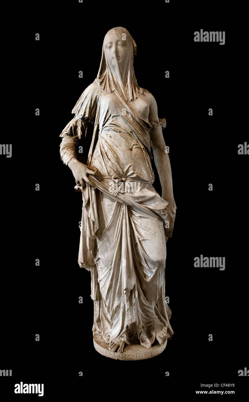 Femme Voilee La Foi The veiled woman Faith by Antononio Corradini early to mid 1700 Italy Italian Sculptor - Stock Image