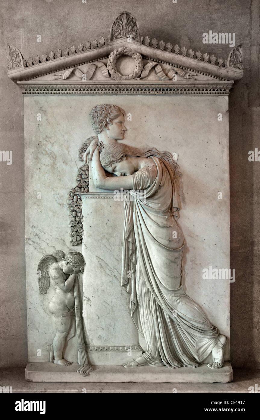 Attributed to Rinaldo Rinakdi, Funeral stele of Pietro Stecchini marble Italy Italian - Stock Image