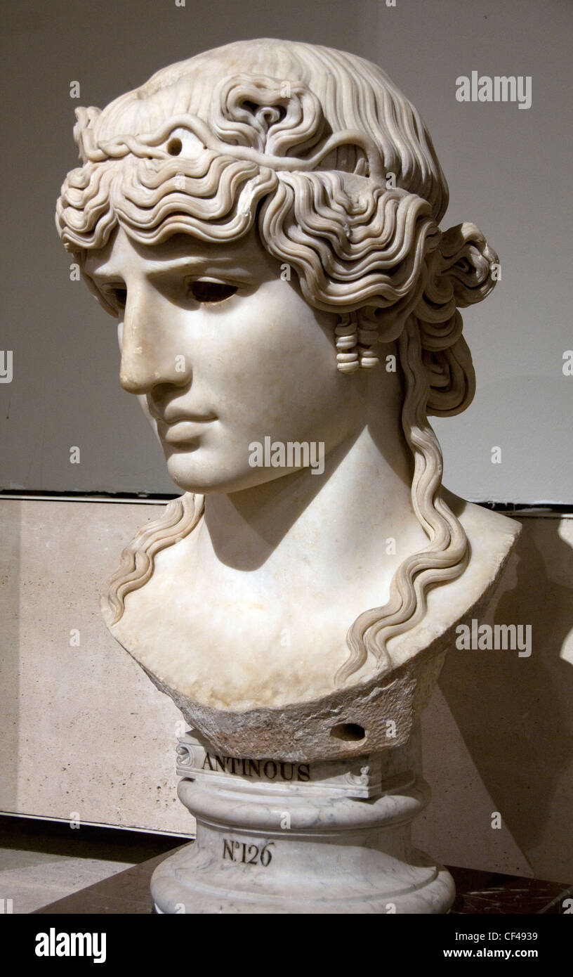 Antinous the lover of Emperor Hadrian Roman Buste 130 AD Mondragone villa in Frascati Italy owned by the  Borghese - Stock Image