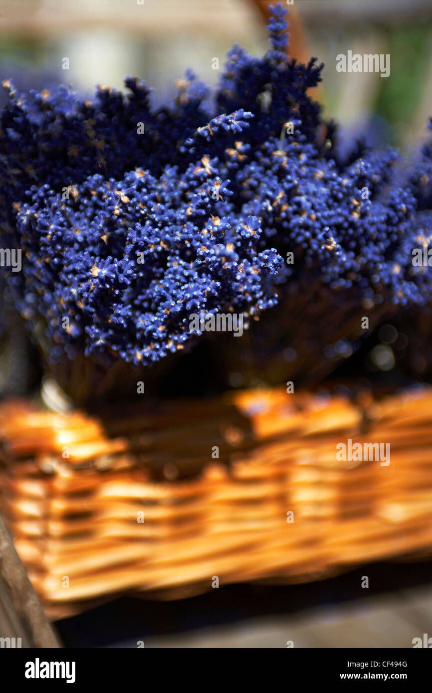 Fresh heather bundles in a small basket on a traditional cart in the village of Lacock in Wiltshire. - Stock Image