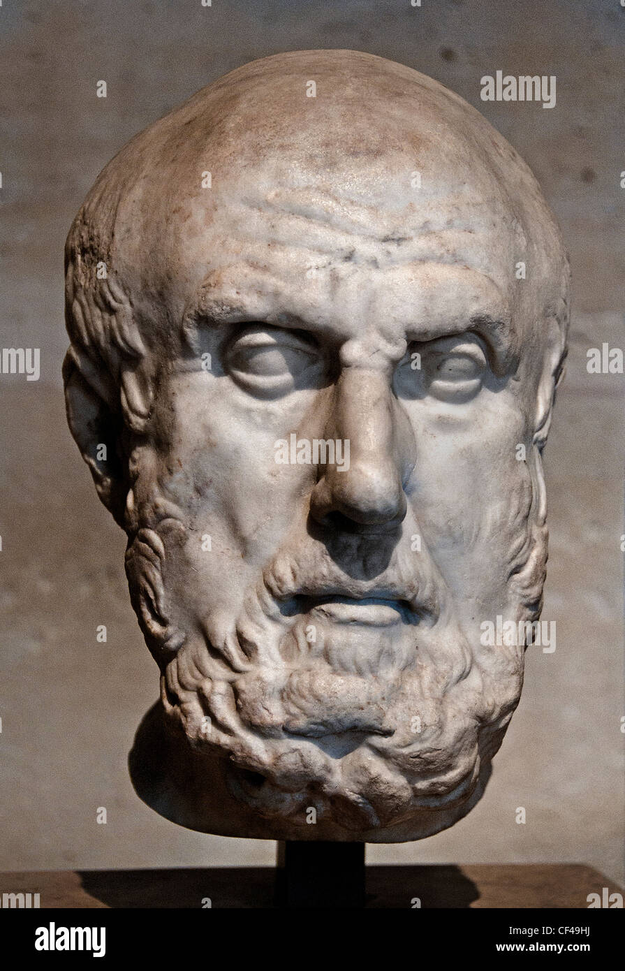 Philosopher Greek Chrysippos of Soli second founder of Stoicism Roman copy  3rd century BC. Greece - Stock Image