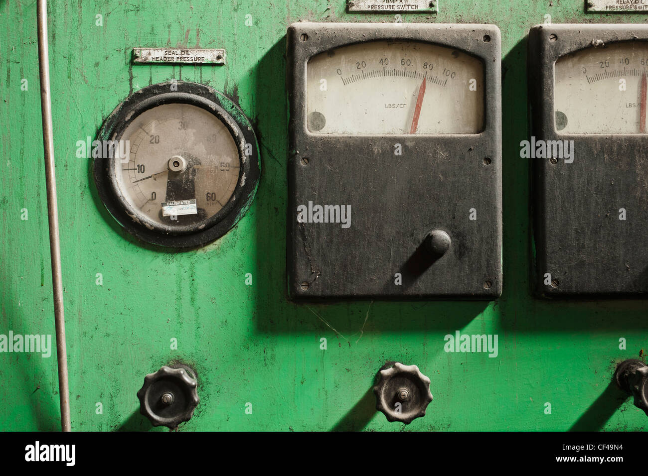Control Dials And Guages At An Old Power Plant; Wabamun Alberta Canada - Stock Image