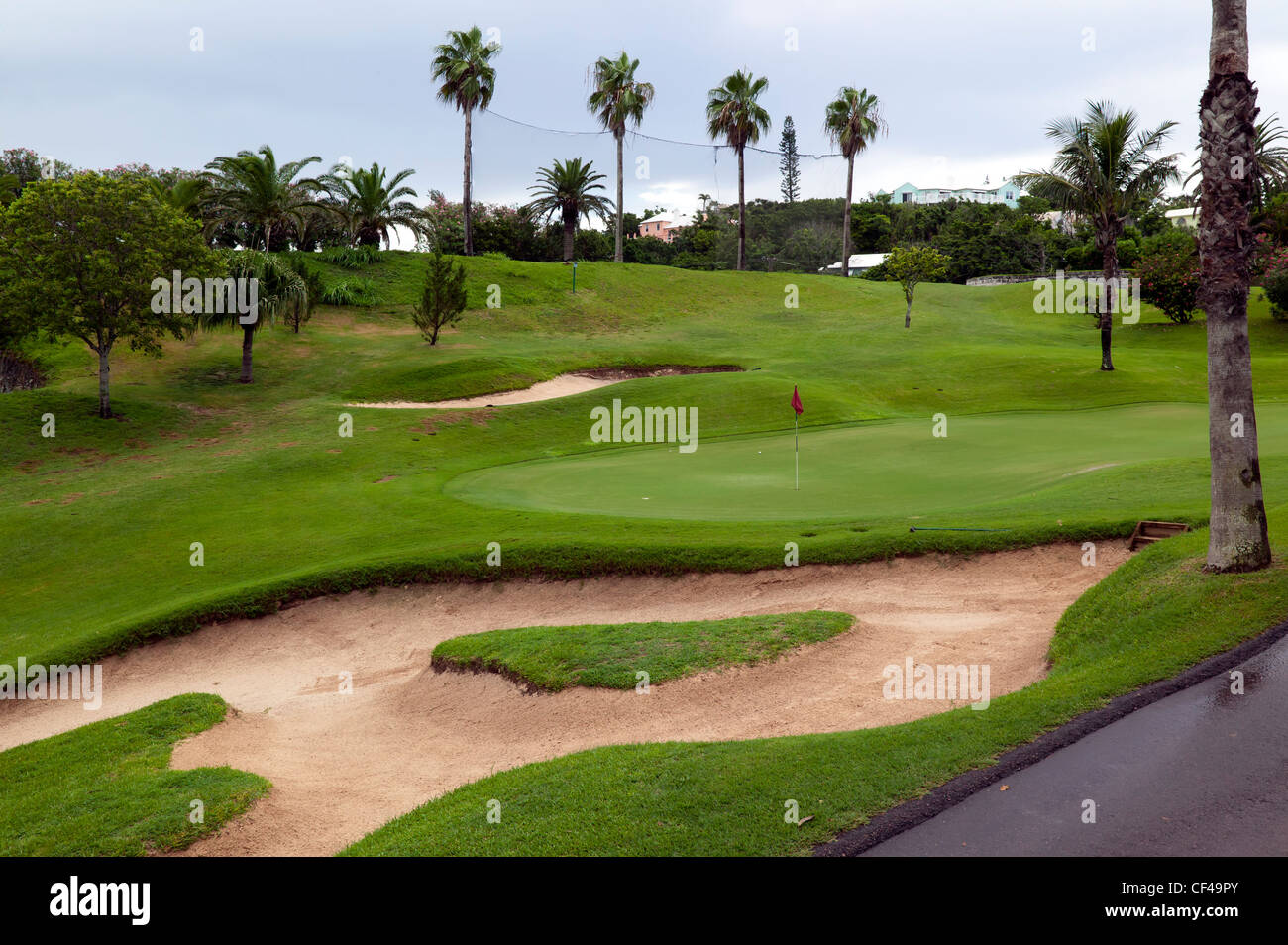 Bunkers and a Green, on the Belmont Hills Golf Course, Belmont Hills Golf Club, Warwick parish, Bermuda. - Stock Image