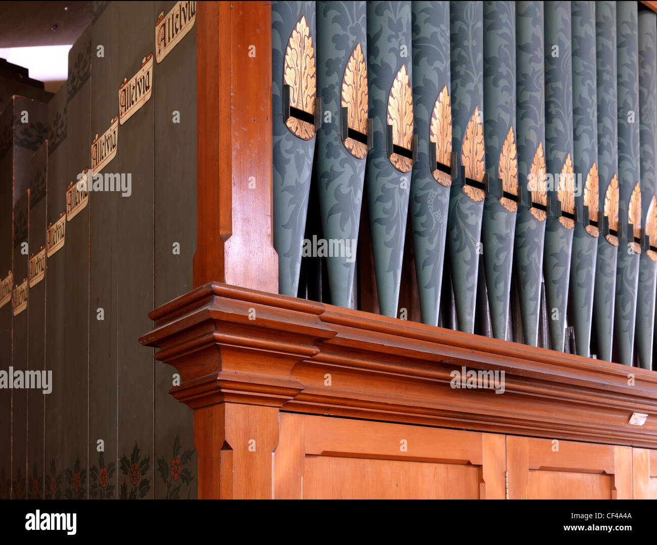 Detail of the pipe organ in St. Mary Magdalene Church in Barkway. - Stock Image