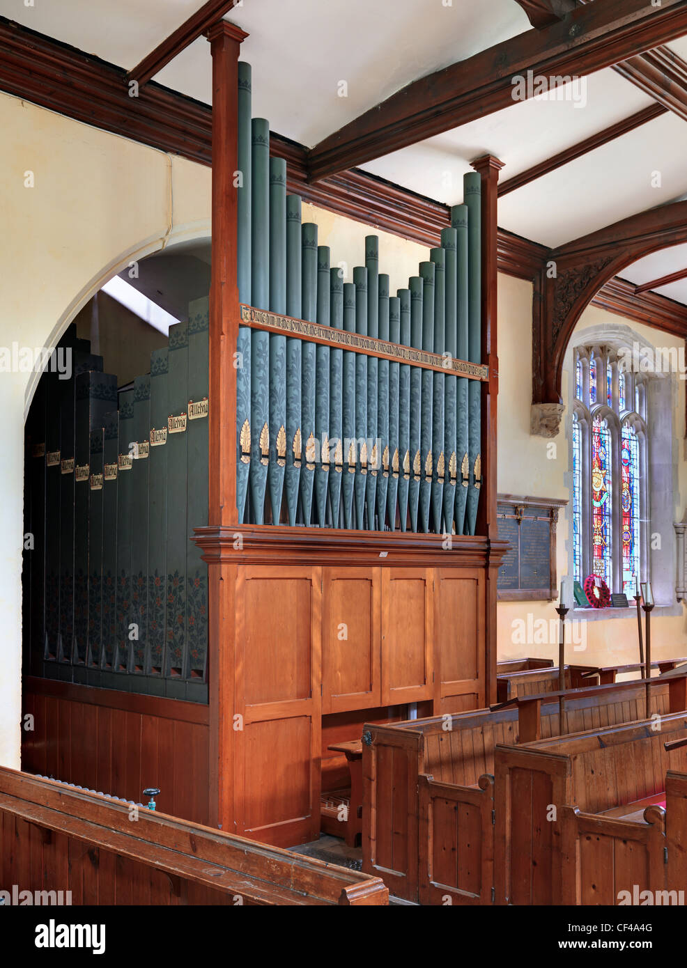 The pipe organ in St. Mary Magdalene Church in Barkway. - Stock Image