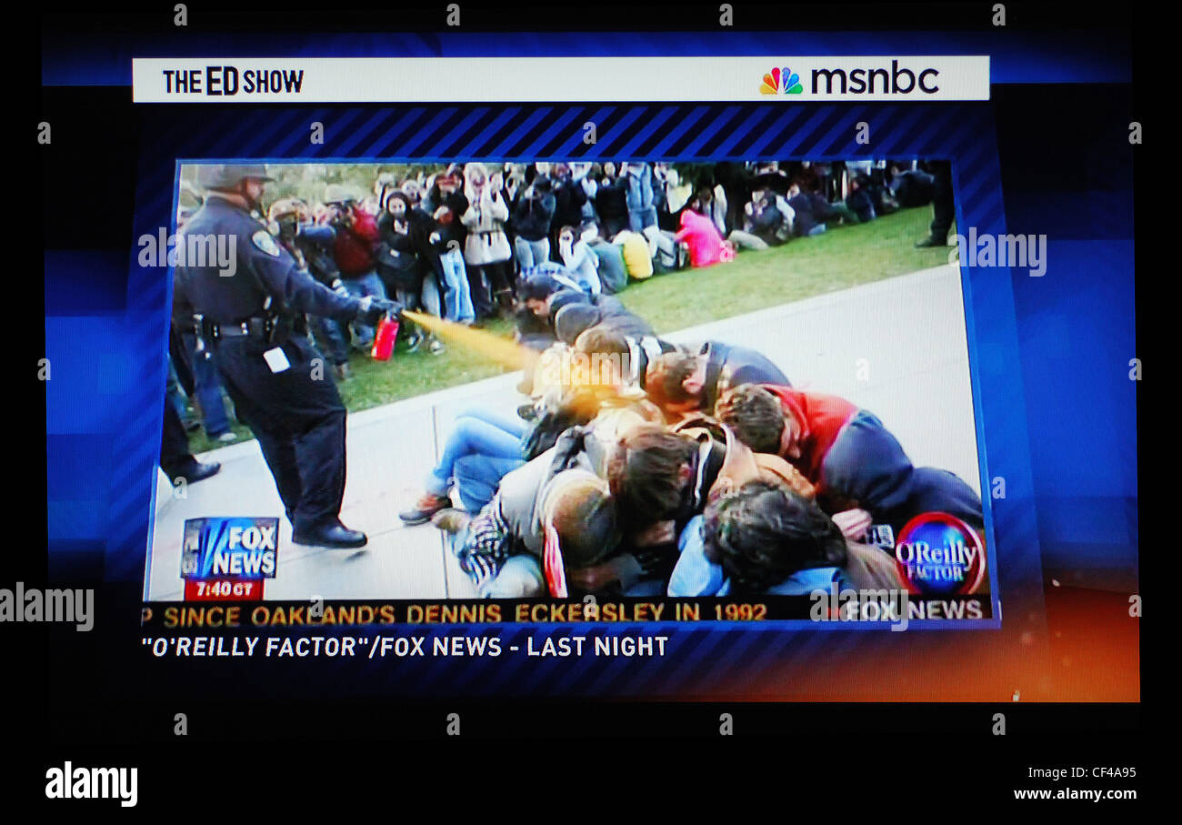 Segment on police brutality at University of California-Davis on MSNBC's The Ed Show - Stock Image